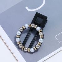 Schnabelspange, Zinklegierung, mit Kunststoff Perlen, für Frau & mit Strass, schwarz, frei von Blei & Kadmium, 50x33mm, verkauft von PC