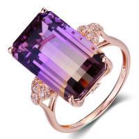 Zinklegierung Fingerring , Rósegold-Farbe plattiert, für Frau & mit kubischem Zirkonia, violett, frei von Nickel, Blei & Kadmium, verkauft von PC