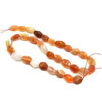 Natürliche Streifen Achat Perlen, poliert, gelb, 8-12mm, Bohrung:ca. 1mm, ca. 32PCs/Strang, verkauft von Strang