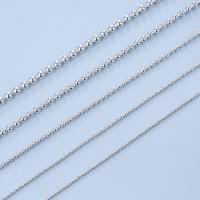 925 Sterling Silber Halskette Kette, Messing, silberfarben plattiert, unterschiedliche Länge der Wahl & Kugelkette, frei von Nickel, Blei & Kadmium, 1-2.5mm, verkauft von Strang