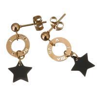 Edelstahl Tropfen Ohrring, Rósegold-Farbe plattiert, für Frau, schwarz, 27mm,10x10mm, verkauft von Paar