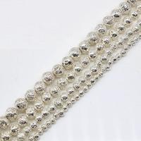 Natürliche Lava Perlen, plattiert, verschiedene Größen vorhanden, keine, Bohrung:ca. 1mm, verkauft von Strang