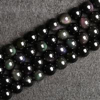 Obsidian Perle, poliert, verschiedene Größen vorhanden & verschiedene Stile für Wahl, Bohrung:ca. 1mm, verkauft von Strang