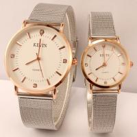 Ehepaar Uhrenarmbänder, Zinklegierung, mit Glas, silberfarben plattiert, NetzGitter & verschiedene Stile für Wahl & für paar, frei von Nickel, Blei & Kadmium, 205x25x6mm, Länge:ca. 8 ZollInch, verkauft von PC