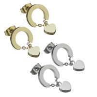 Edelstahl Tropfen Ohrring, Herz, für Frau, keine, 6x8mm,20mm, ca. 12PCs/Tasche, verkauft von Tasche