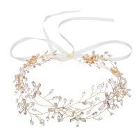 Stirnband, Zinklegierung, Blume, goldfarben plattiert, für Frau & mit Strass, frei von Nickel, Blei & Kadmium, 410mmx50mm, verkauft von PC