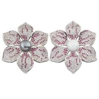 Messing Cabochon Einstellungen, mit ABS-Kunststoff-Perlen, Blume, Platinfarbe platiniert, Micro pave Zirkonia, keine, frei von Nickel, Blei & Kadmium, 38x8mm, verkauft von PC