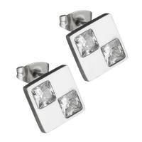 Edelstahl Ohrringe, Quadrat, für Frau & mit kubischem Zirkonia, originale Farbe, 13.50x13.50mm, ca. 12PaarePärchen/Tasche, verkauft von Tasche