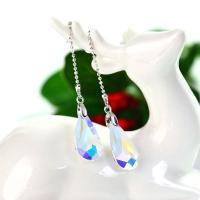 Zinklegierung Tropfen Ohrring, mit Österreichischer Kristall, platiniert, Koreanischen Stil & für Frau, keine, frei von Nickel, Blei & Kadmium, 11x78mm, verkauft von Paar