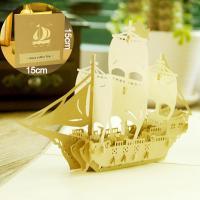 Papier 3D Grußkarte, Schiff, geschnitzt, handgefertigt & hohl, gelb, 150x150mm, verkauft von PC