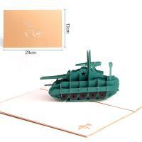 Papier 3D Grußkarte, TankPanzer, geschnitzt, handgefertigt & hohl, grün, 130x200mm, verkauft von PC