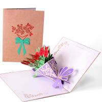 Papier 3D Grußkarte, Blumenstrauß, geschnitzt, handgefertigt & hohl, farbenfroh, 200x150mm, verkauft von PC