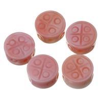 Achat Perlen, Rosa Muschel, flache Runde, Rosa, 9x5mm, Bohrung:ca. 1.5mm, verkauft von PC