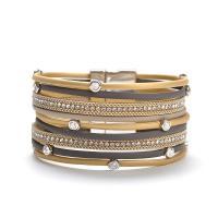 PU Leder kombiniertes Armband, mit Magnet & Zinklegierung, Platinfarbe platiniert, für Frau & mit Strass, keine, 195mmx30mm, verkauft per ca. 7.6 ZollInch Strang