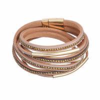 PU Leder kombiniertes Armband, mit Magnet & Zinklegierung, für Frau & mit Strass, keine, 395mmx16mm, verkauft per ca. 15.5 ZollInch Strang