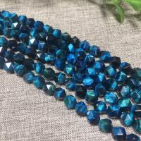 Tigerauge Perlen, natürlich, DIY & verschiedene Größen vorhanden & facettierte, pfauenblau, verkauft per ca. 15 ZollInch Strang