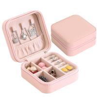 Multifunktionale Schmuck-Box, PU Leder, Quadrat, mit Spiegel & für Frau, keine, 100x100x55mm, verkauft von PC