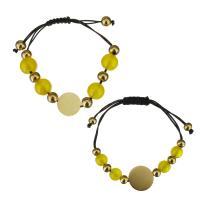 Edelstahl Woven Ball Armbänder, mit Glasperlen & Nylonschnur, unisex, gelb, 16x16mm,12x11mm,16x16mm,8.5x7.5mm, Länge:4-9 ZollInch, 4-8 ZollInch, 2SträngeStrang/Menge, verkauft von Menge