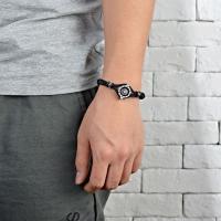 Titanstahl Armband, mit Lederband, Titan Stahl Druckknopf Verschluss, poliert, Multifunktions & unisex, keine, verkauft von PC