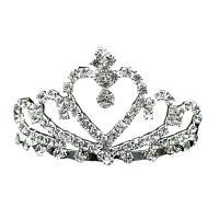 Krone, Zinklegierung, Platinfarbe platiniert, für Braut & mit Strass, frei von Nickel, Blei & Kadmium, 70mm, verkauft von PC