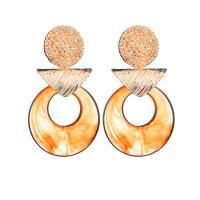 Harz Tropfen Ohrring, goldfarben plattiert, für Frau & gehämmert, keine, 90*40mm, verkauft von Paar