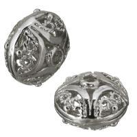 Messing hohle Perlen, frei von Nickel, Blei & Kadmium, 14x11x14mm, Bohrung:ca. 2mm, ca. 100PCs/Menge, verkauft von Menge