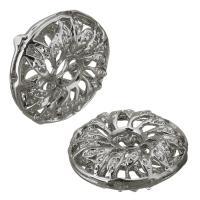 Messing hohle Perlen, silberfarben plattiert, frei von Nickel, Blei & Kadmium, 16.50x6x16.50mm, Bohrung:ca. 4mm, ca. 100PCs/Menge, verkauft von Menge
