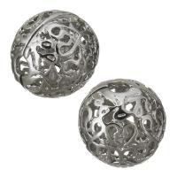 Messing hohle Perlen, silberfarben plattiert, frei von Nickel, Blei & Kadmium, 14mm, Bohrung:ca. 3mm, ca. 100PCs/Menge, verkauft von Menge