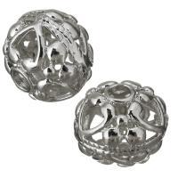 Messing hohle Perlen, silberfarben plattiert, frei von Nickel, Blei & Kadmium, 18x16x18mm, Bohrung:ca. 4mm, ca. 100PCs/Menge, verkauft von Menge