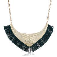 Zinklegierung Franse Halskette, mit Baumwollfaden, goldfarben plattiert, für Frau, keine, frei von Nickel, Blei & Kadmium, 60mm, verkauft per ca. 16.9 ZollInch Strang