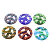 Mode Lampwork Anhänger, Frieden Logo, Silberpulver, gemischte Farben, 49x8mm, Bohrung:ca. 3mm, 12PCs/Box, verkauft von Box