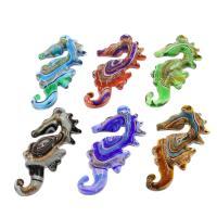 Goldsand Lampwork Anhänger, Seepferd, Silberpulver, gemischte Farben, 34x68x7mm, Bohrung:ca. 3mm, 12PCs/Box, verkauft von Box