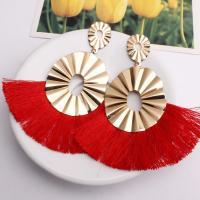 Zinklegierung Troddel Ohrring, mit Baumwollfaden, Zinklegierung Stecker, für Frau, keine, frei von Blei & Kadmium, 105x45mm, verkauft von Paar