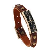 PU Schnur Armbänder, PU Leder, mit Zinklegierung, antike Goldfarbe plattiert, unisex, frei von Nickel, Blei & Kadmium, 12mm, verkauft per ca. 9.5 ZollInch Strang