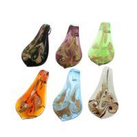 Goldsand Lampwork Anhänger, gemischte Farben, 31x59x16mm, Bohrung:ca. 7mm, 12PCs/Box, verkauft von Box