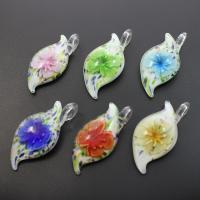 Innen Blume Lampwork Anhänger, Goldsand, gemischte Farben, 25x53x14mm, Bohrung:ca. 7mm, 12PCs/Box, verkauft von Box