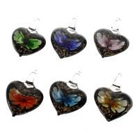Innen Blume Lampwork Anhänger, Herz, Goldsand, gemischte Farben, 33x43x16mm, Bohrung:ca. 7mm, 12PCs/Box, verkauft von Box