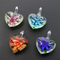 Innen Blume Lampwork Anhänger, Herz, gemischte Farben, 32x42x15mm, Bohrung:ca. 7mm, 12PCs/Box, verkauft von Box