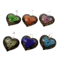 Innen Blume Lampwork Anhänger, Herz, Goldsand, gemischte Farben, 35x43x13mm, Bohrung:ca. 5mm, 12PCs/Box, verkauft von Box