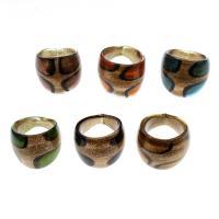 Lampwork Fingerring, unisex & Goldsand, gemischte Farben, 25x22mm, Größe:9.5, 12PCs/Box, verkauft von Box