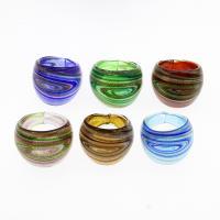 Lampwork Fingerring, unisex & Goldsand, gemischte Farben, 28x23mm, Größe:10.5, 12PCs/Tasche, verkauft von Tasche