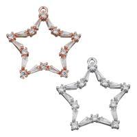 Befestigter Zirkonia Messing Anhänger, Stern, plattiert, Micro pave Zirkonia, keine, frei von Nickel, Blei & Kadmium, 25x25.50x3mm, Bohrung:ca. 1.5mm, ca. 10PCs/Menge, verkauft von Menge