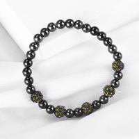Naturstein Armband, rund, für Frau & mit Strass, schwarz, 6mm, Länge:ca. 6.9 ZollInch, 10SträngeStrang/Menge, verkauft von Menge