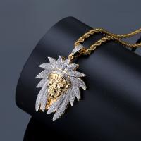Messing Pullover Halskette, goldfarben plattiert, Micro pave Zirkonia & für den Menschen, frei von Nickel, Blei & Kadmium, 33x55mm, verkauft per ca. 24 ZollInch Strang