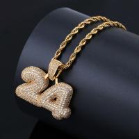 Messing Pullover Halskette, Zahl, plattiert, Micro pave Zirkonia & für den Menschen, keine, frei von Nickel, Blei & Kadmium, 36x30mm, verkauft per ca. 24 ZollInch Strang