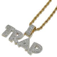 Messing Pullover Halskette, goldfarben plattiert, Micro pave Zirkonia & für den Menschen, metallische Farbe plattiert, frei von Nickel, Blei & Kadmium, 50x30mm, verkauft per ca. 24 ZollInch Strang