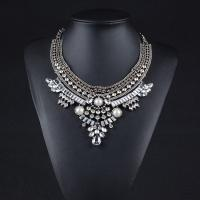 Zinklegierung Schmuck Halskette, Zinklegierung Karabinerverschluss, plattiert, für Frau & mit Strass, keine, frei von Blei & Kadmium, 250x65mm, verkauft von Strang