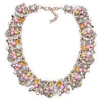 Zinklegierung Schmuck Halskette, Zinklegierung Karabinerverschluss, plattiert, für Frau & mit Strass, keine, frei von Blei & Kadmium, verkauft von Strang