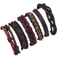 Kuhhaut Armband-Set, mit PU Leder, unisex & gewebte Muster, 180mm, Länge:ca. 7 ZollInch, verkauft von setzen