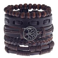 Kuhhaut Armband-Set, mit Hanfgarn & Zinklegierung, verschiedene Stile für Wahl, keine, 180mm, Länge:ca. 7 ZollInch, verkauft von setzen